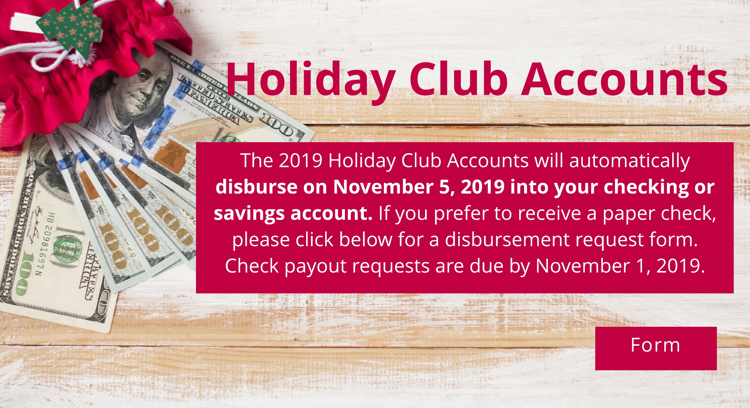 Holiday Club Accounts. Click to learn more