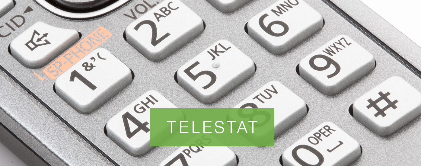 "Phone keys with banner ""TELESTAT"""